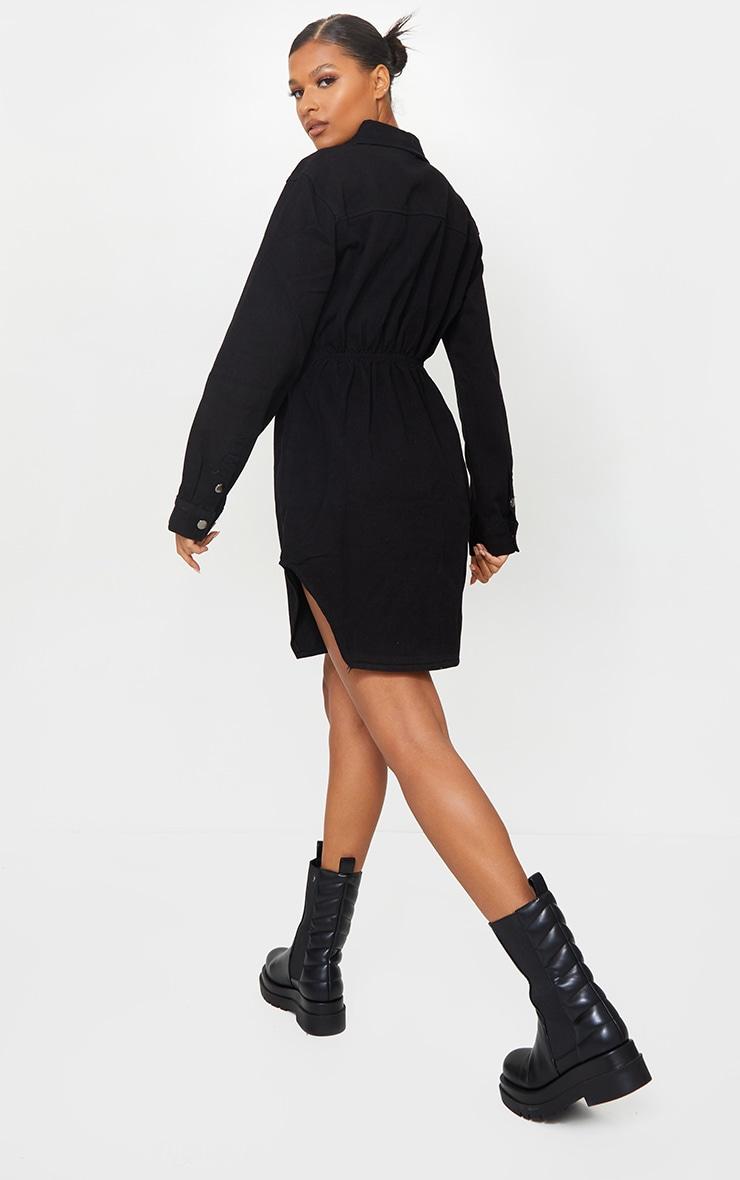 Black Cinched Waist Long Sleeve Denim Dress 2