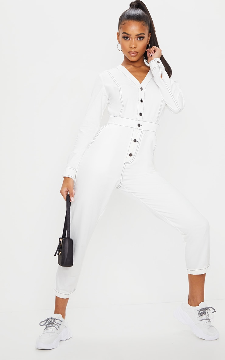 White Button Detail Contrast Stitch Denim Boilersuit 1
