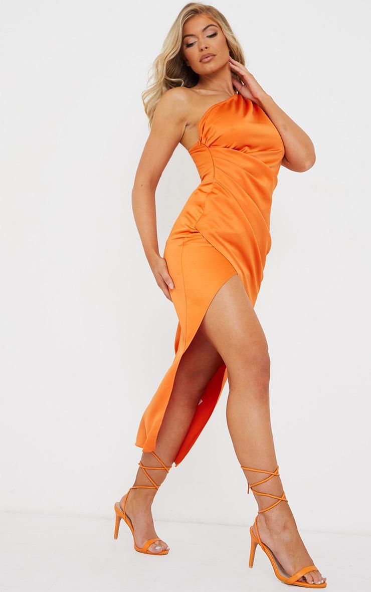 Rust Satin One Shoulder Pleat Detail Midi Dress 3