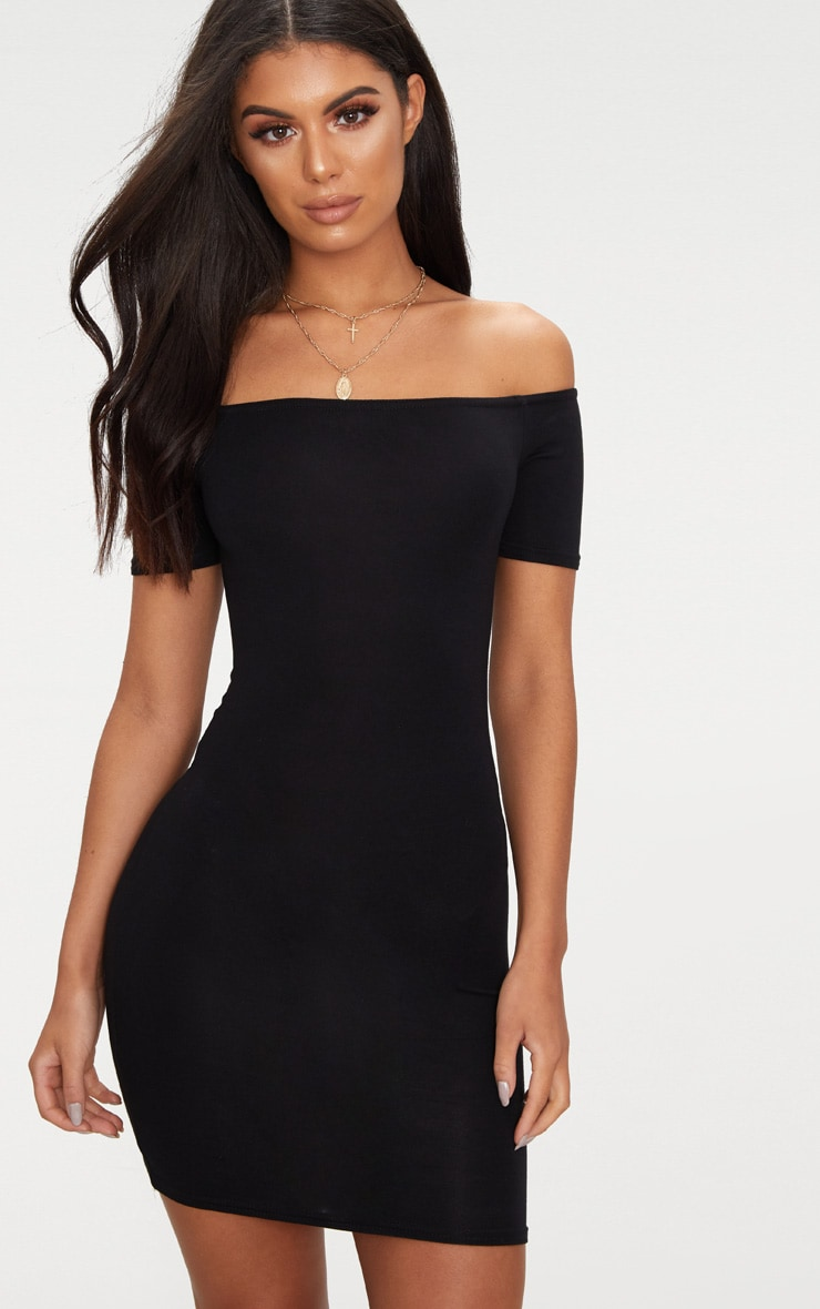 Basic Black Short Sleeve Bardot Bodycon Dress 1