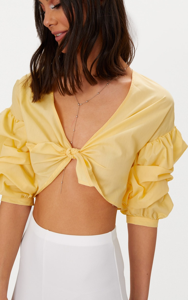 Yellow Woven Knot Front Puff Sleeve Crop Top  5
