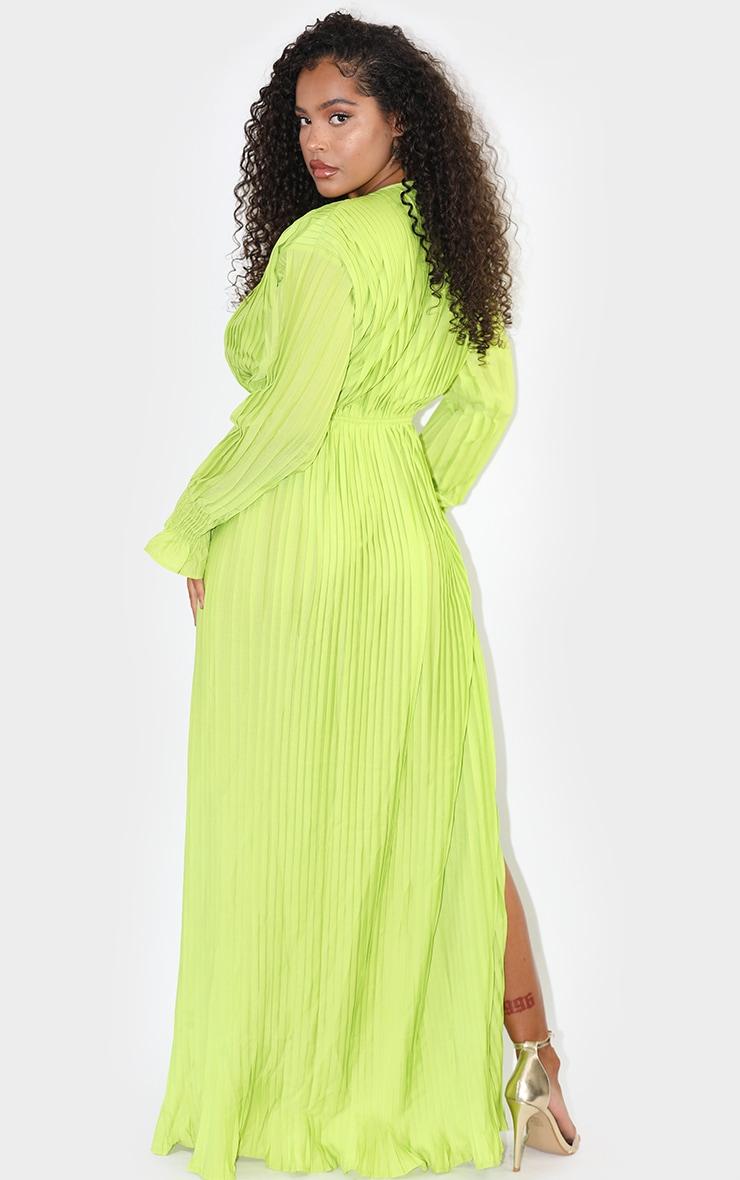 Lime Pleated Plunge Split Detail Maxi Dress 2