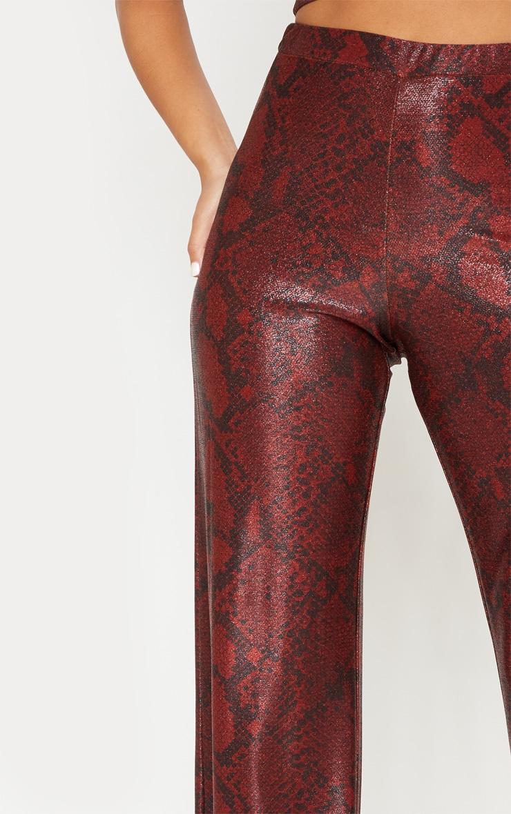 Maroon Metallic Snake Wide Leg Trousers 6