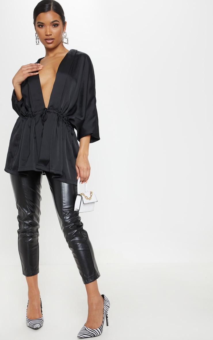 Black Textured Woven Plunge Tie Waist Blouse 4