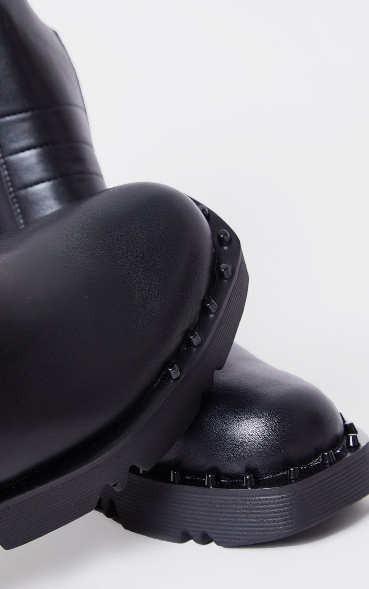 Black Chunky Sole Studded Chelsea Boots 5