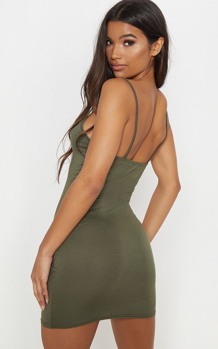 Basic Khaki Strappy Bodycon Dress 2