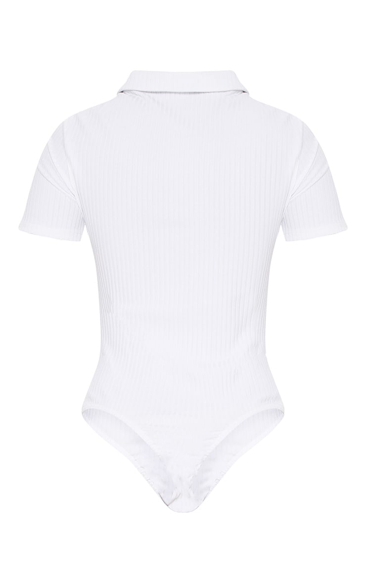 White Rib Polo Bodysuit 4