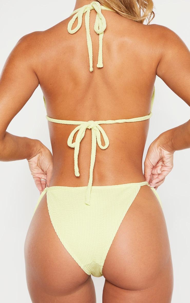 Bas de bikini vert sauge froncé à nouer sur les côtés 3
