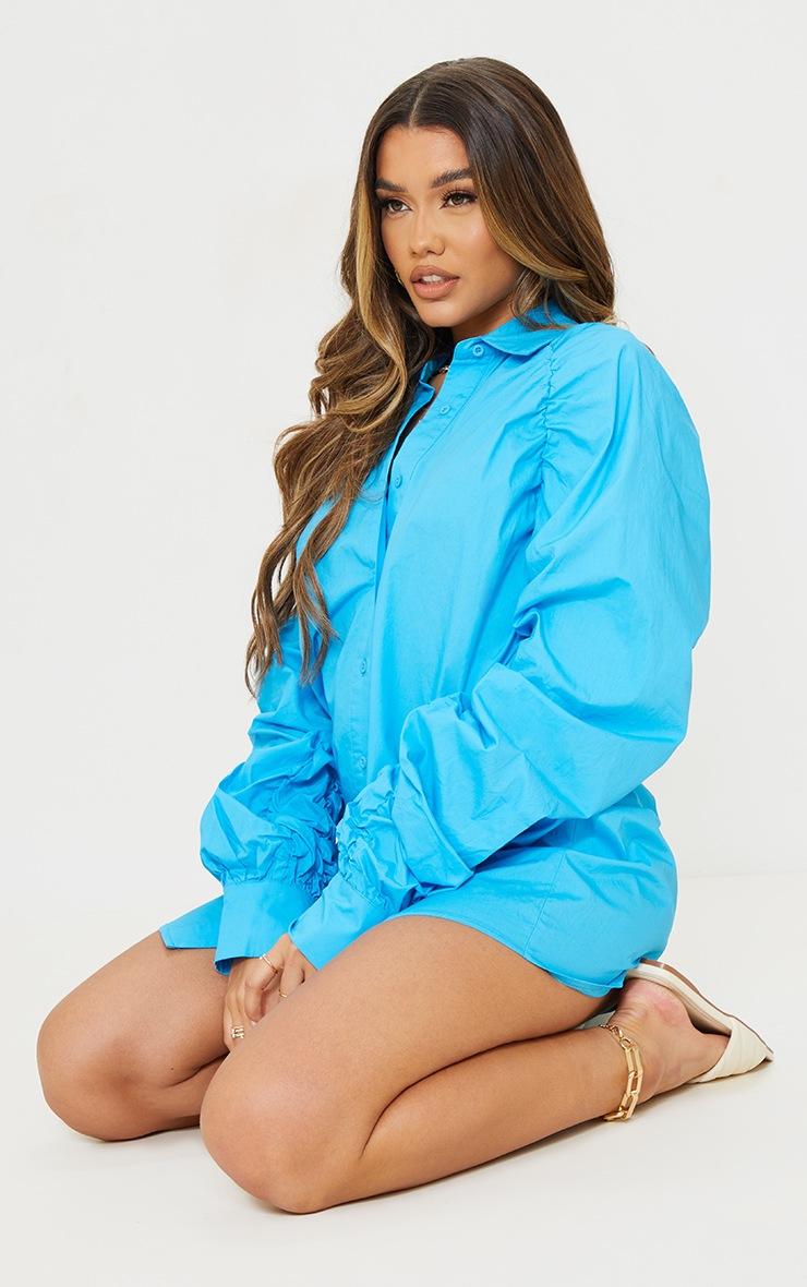 Blue Ruched Sleeve Detail Oversized Shirt Dress 3