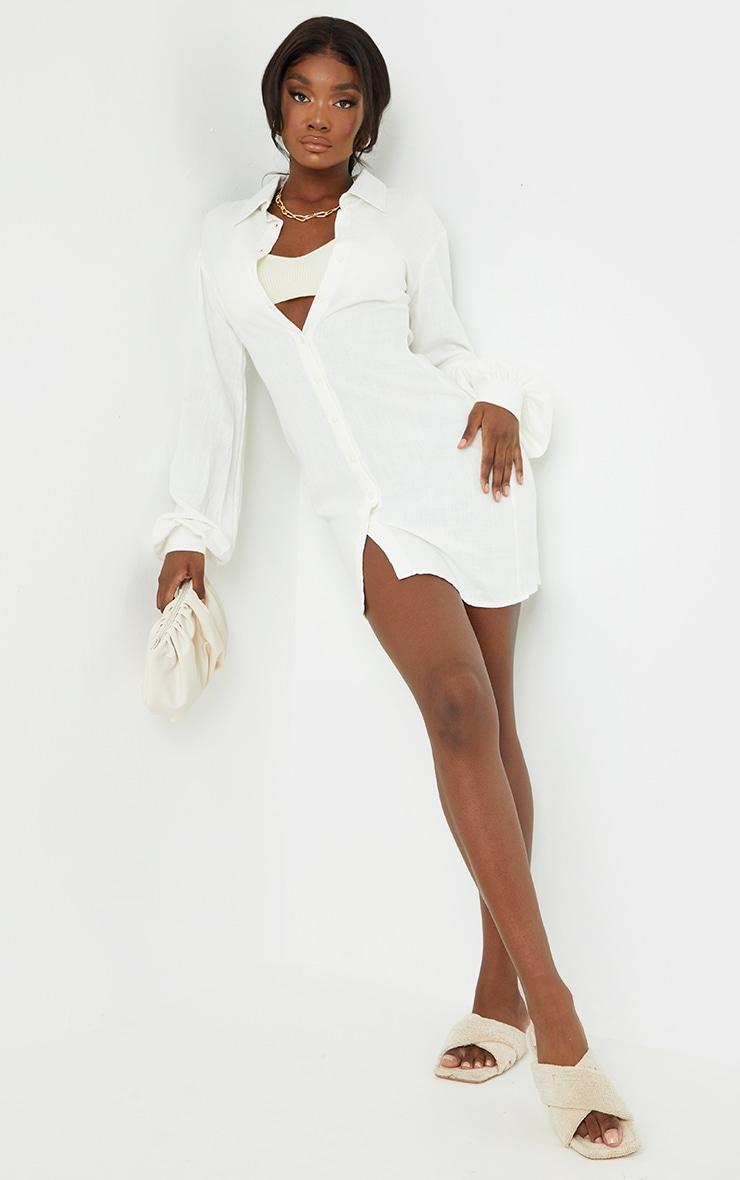 Tall White Lightweight Button Detail Shirt Dress 3