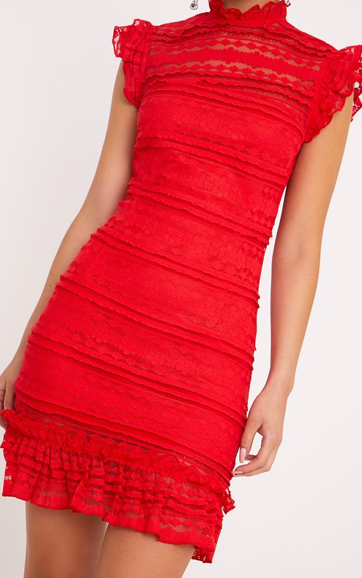 Clariya Red Frill Neck Ruffle Layer Lace Bodycon Dress  5