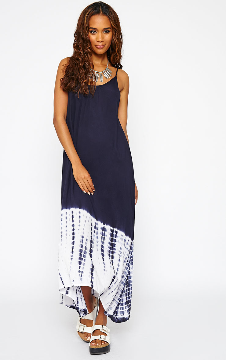 Janae Blue Tie Dye Hem Maxi Dress 1