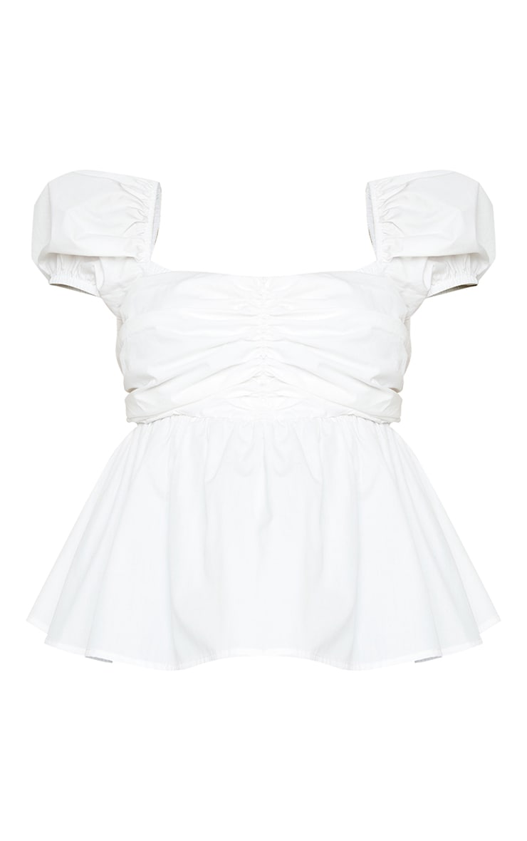 Plus White Ruched Puff Sleeve Top 5