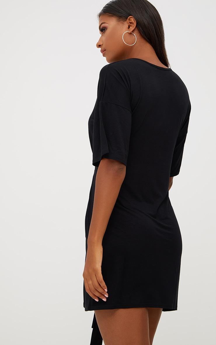 Black Tie Waist T Shirt Dress 2