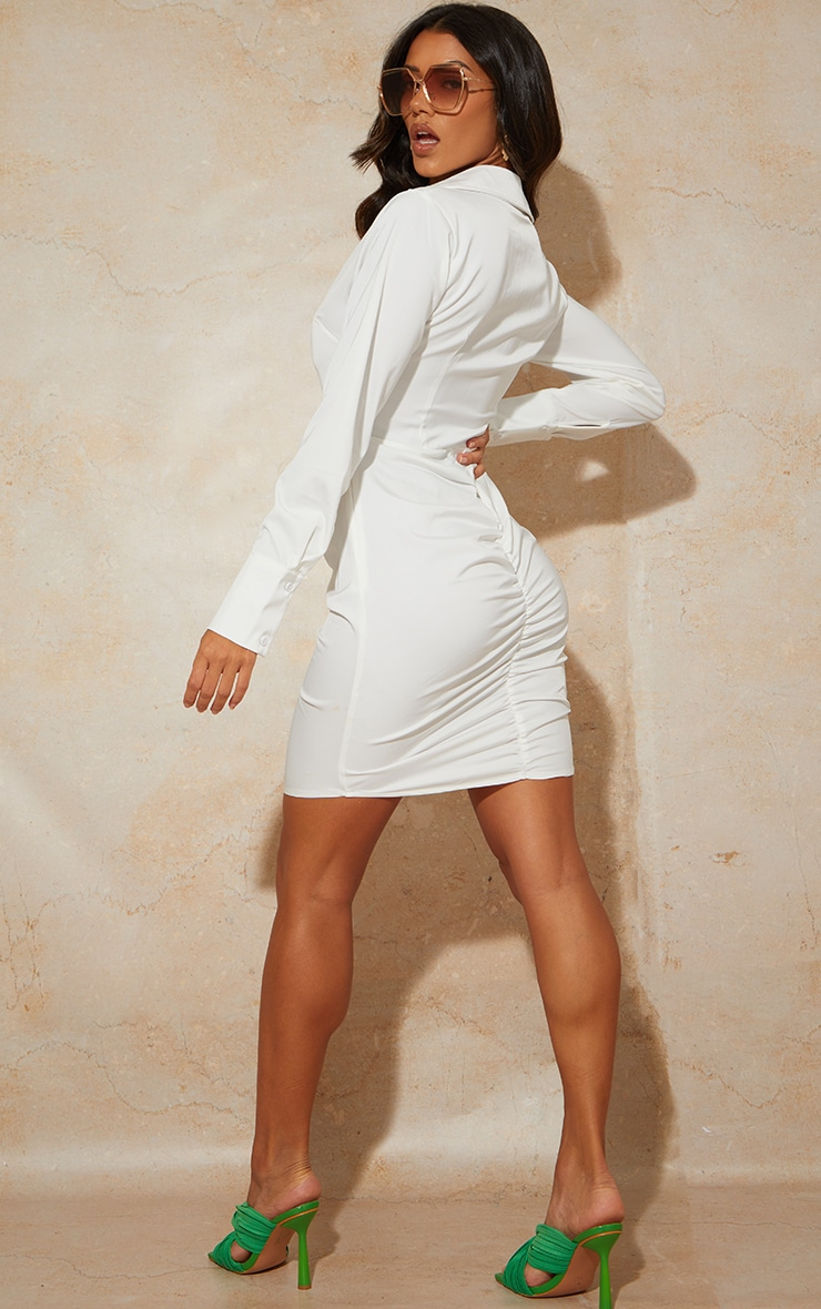 White Woven Long Sleeve Ruched Detail Shirt Dress 2