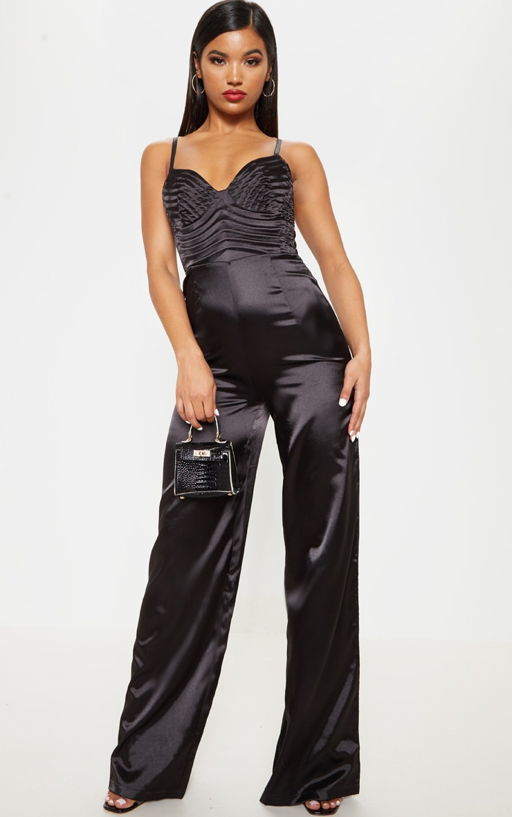 Black Satin Quilted Bust Wide Leg Jumpsuit 1
