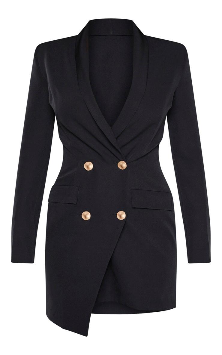 Petite Black Button Woven Blazer Dress 3
