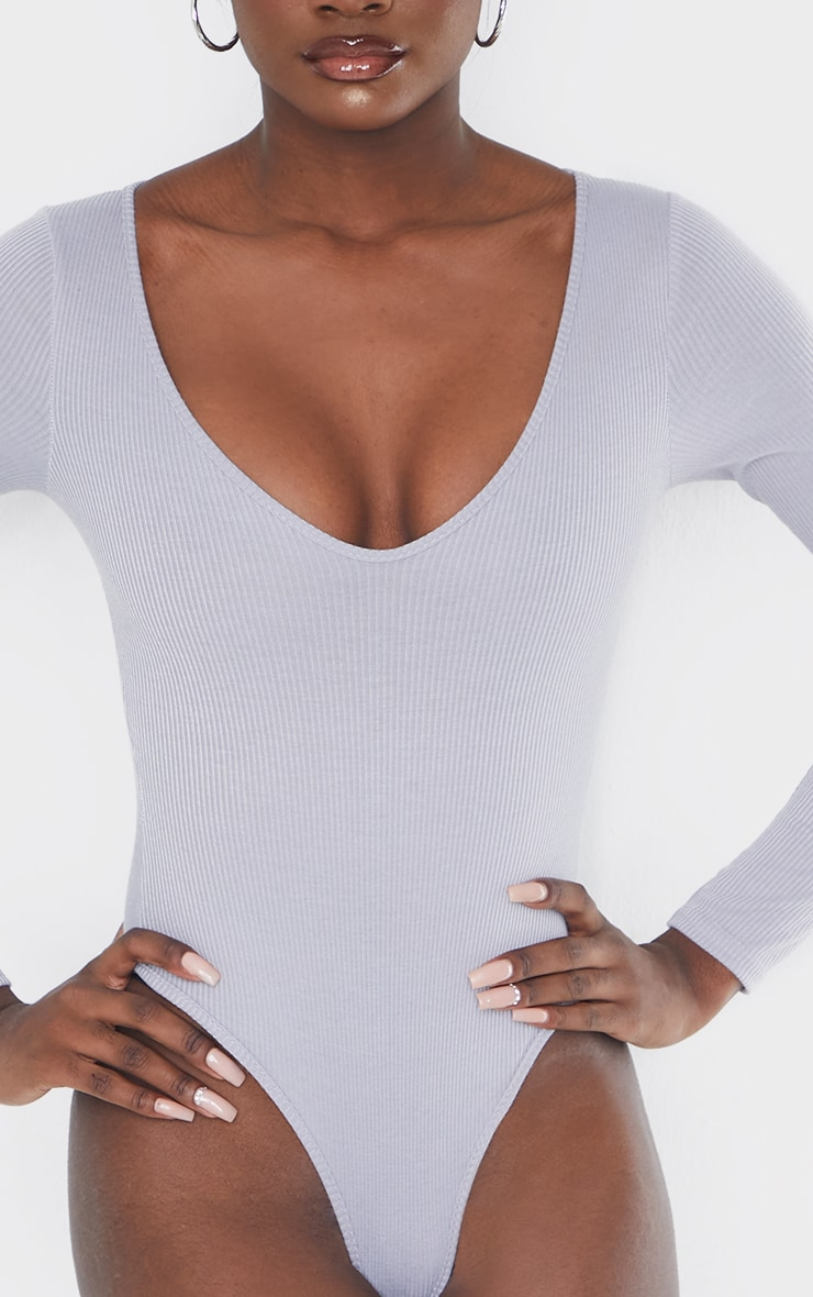 Tall Grey Ribbed Plunge Long Sleeve Bodysuit 4
