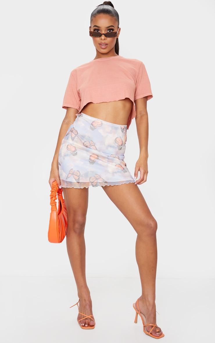 Blue Butterfly Print Lettuce Hem Skirt 1