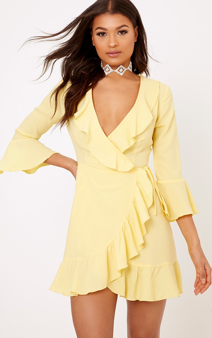 Ilisha Lemon Frill Wrap Dress  1