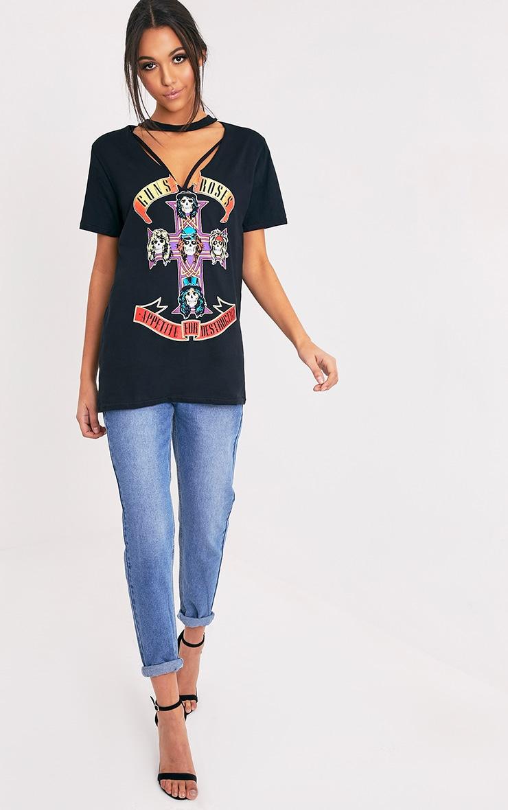 T-shirt noir surdimensionné à découpes et slogan Guns N' Roses 5