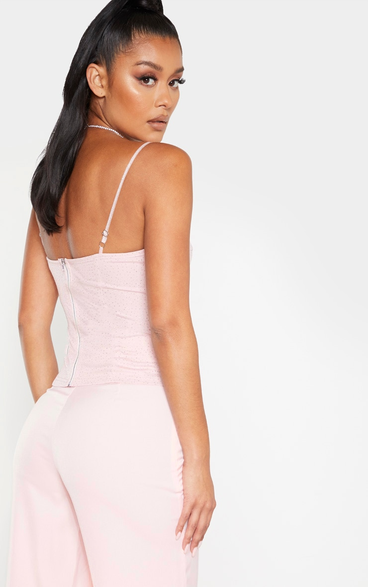 Pink Sparkle Mesh Structured Corset Top 2