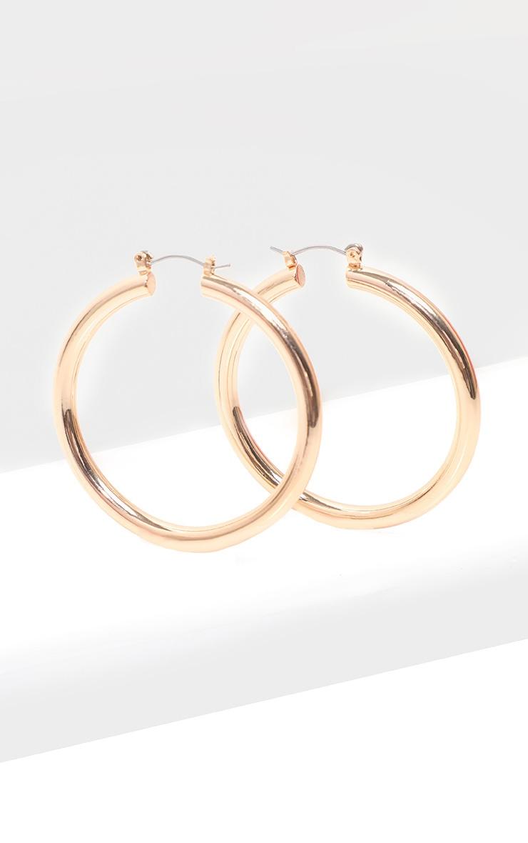 Gold Tubular Hoop Earrings 2