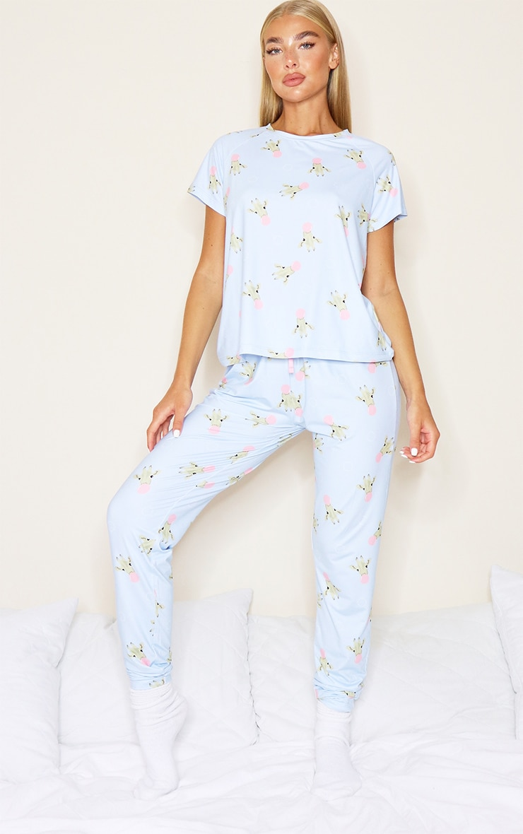 Blue Giraffe Bubblegum Print Legging PJ Set 3