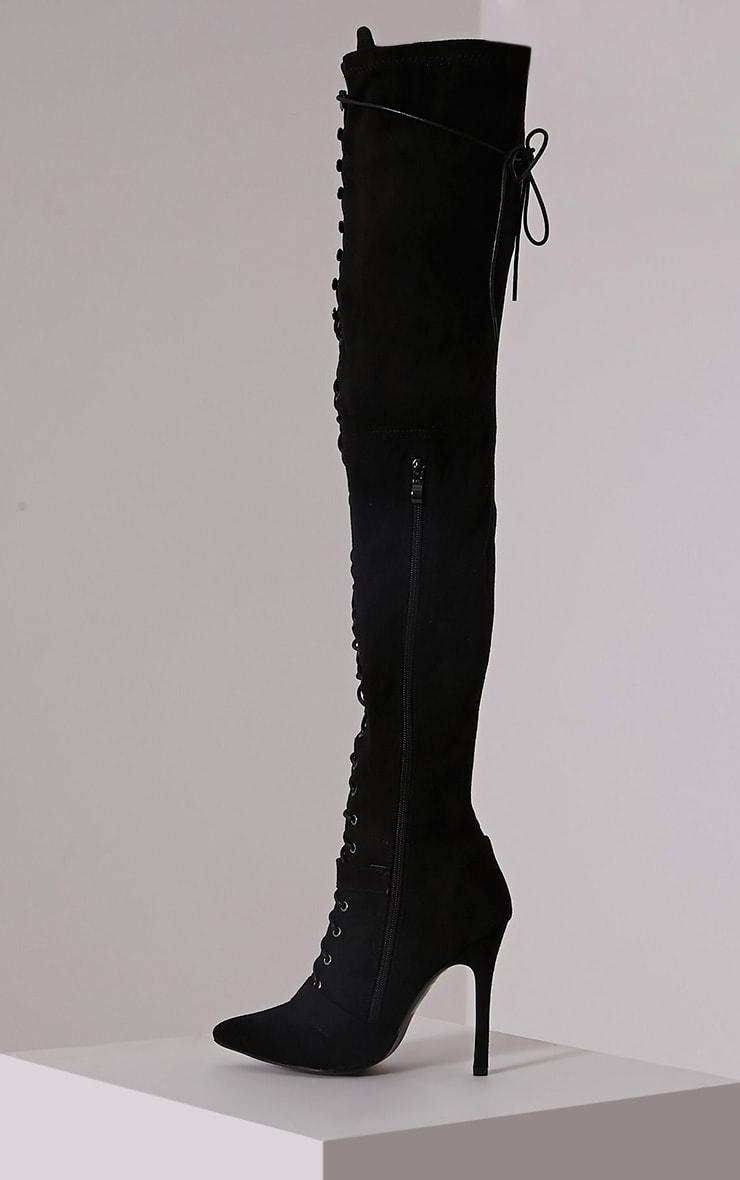 Sofey Black Faux Suede Lace Up Pointed Over The Knee Boots 4
