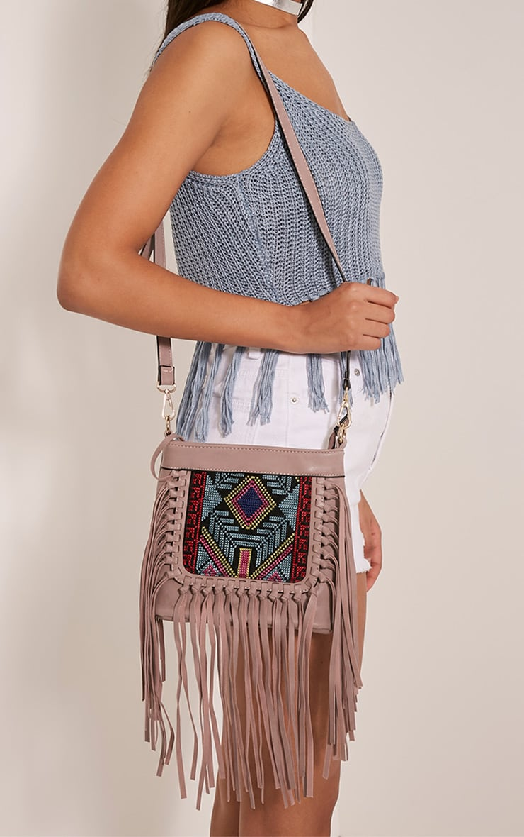 Serena Purple PU Tapestry Fringe Bag 3