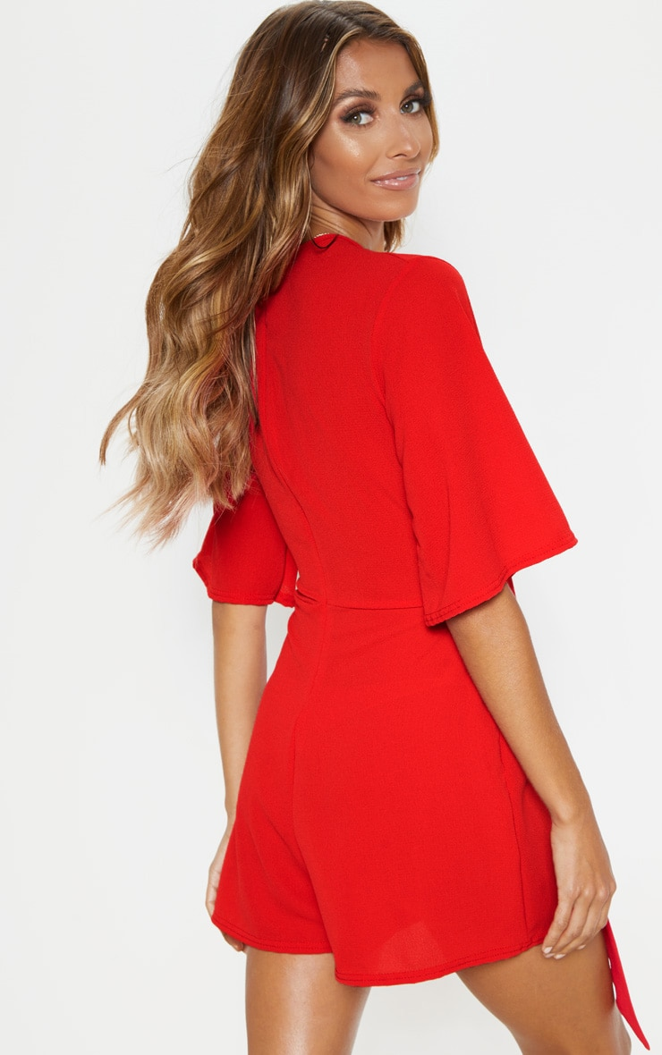 Red Tie Front Playsuit 2
