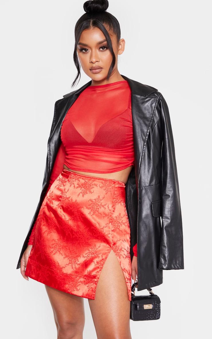 Red Oriental Jacquard Split Front Mini Skirt 1