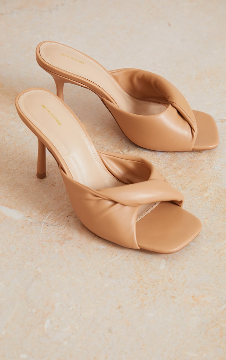 Sand Wide Fit PU Folded Knot Low Heeled Mules 3