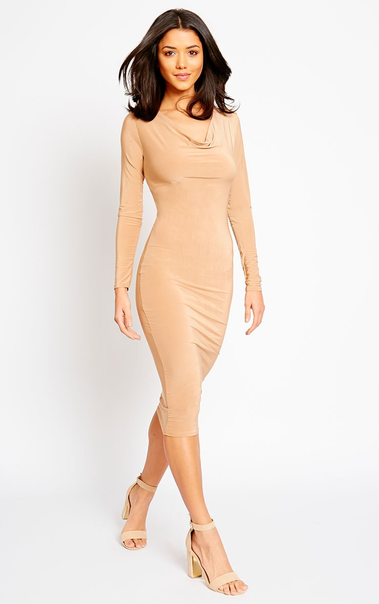 Ziva Camel Slinky Cowl Neck Midi Dress 1