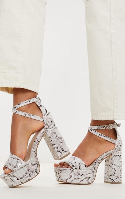 White Snake Platform Ankle Tie Block Heel Sandal