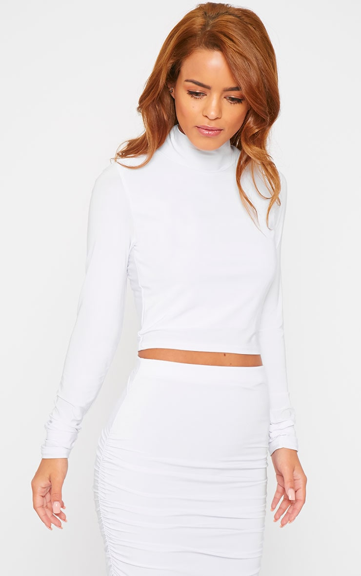 Saylor White Turtle Neck Crop Top 4