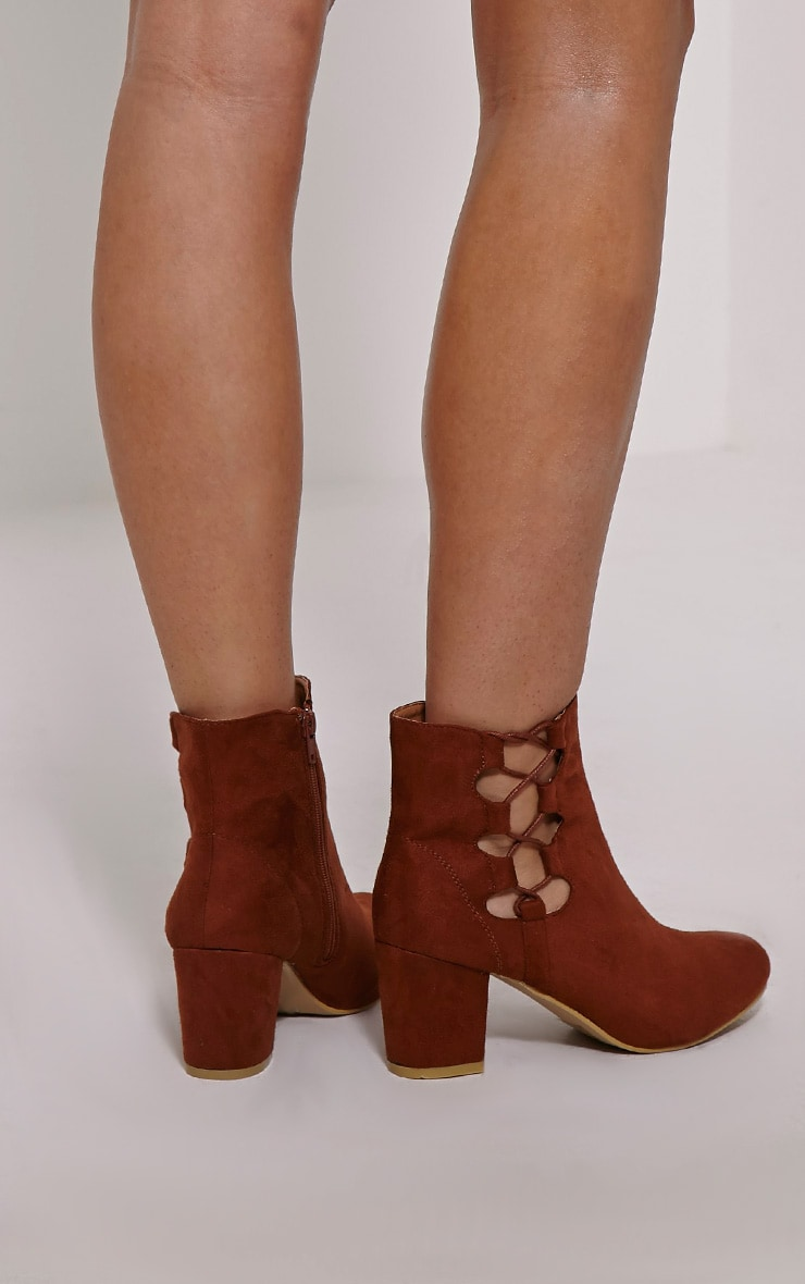 Genevieve Tan Lace Up Side Heel Ankle Boots 2