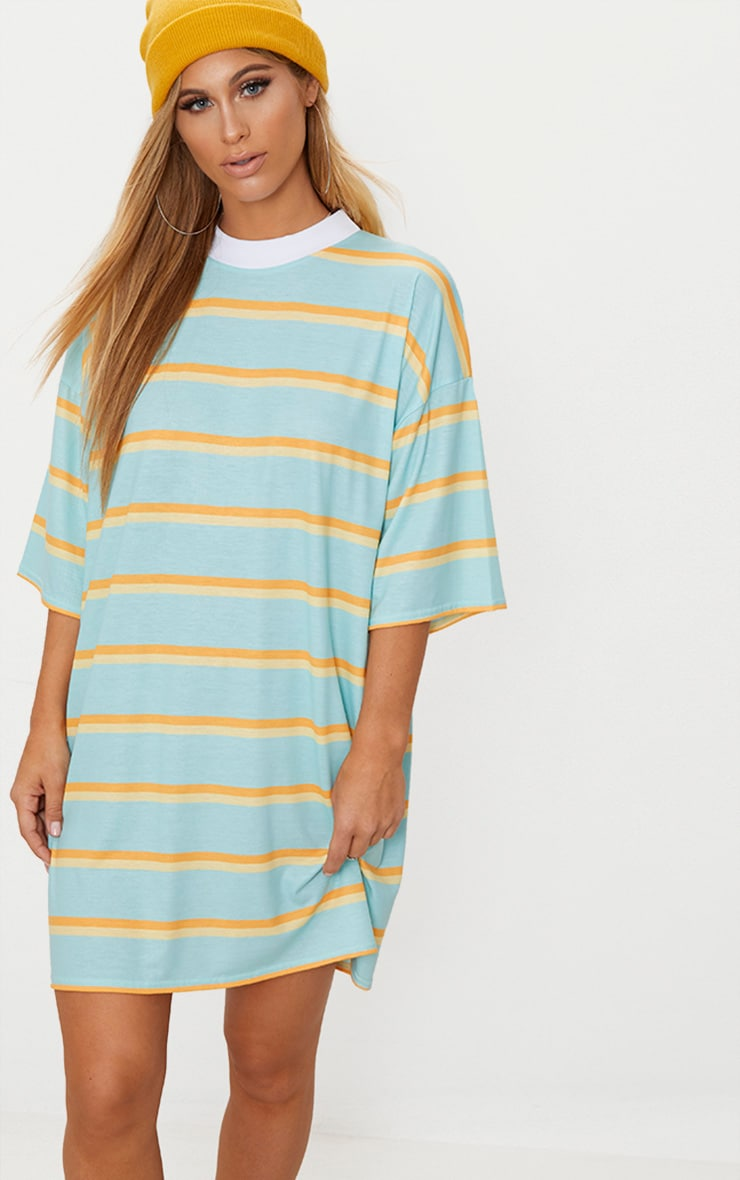 Pastel Green Stripe T Shirt Dress 1