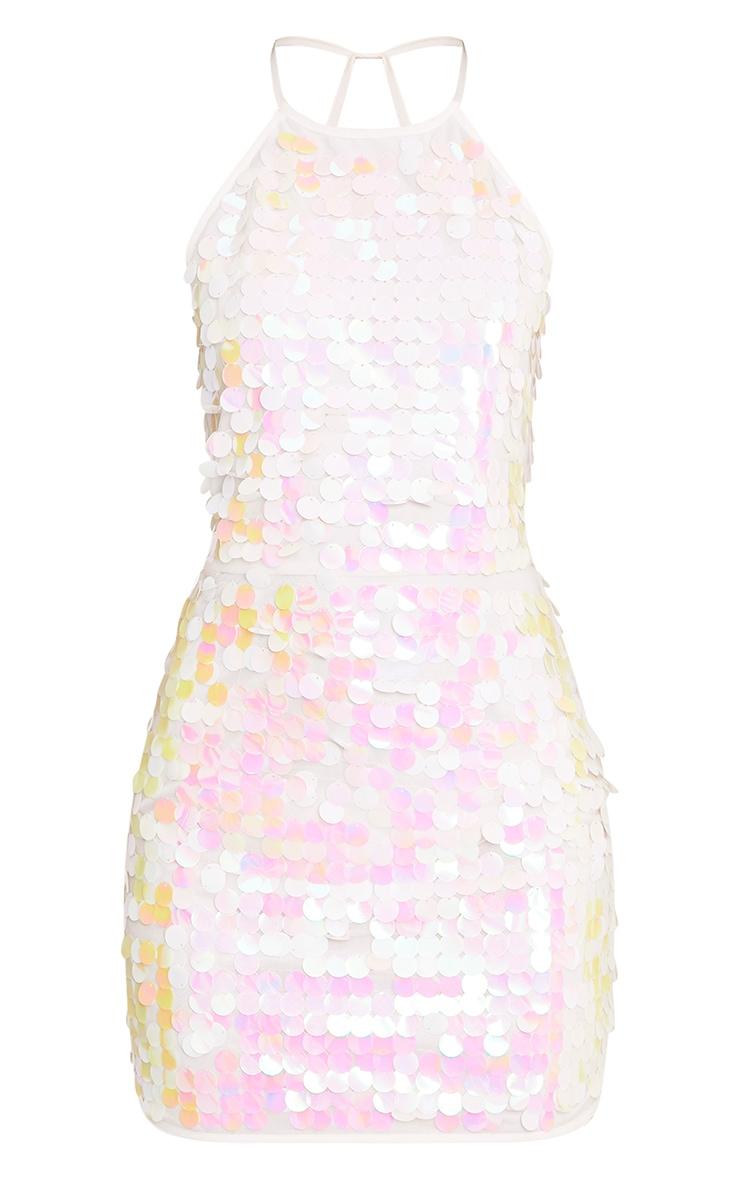 White Sequin Shift Dress  3