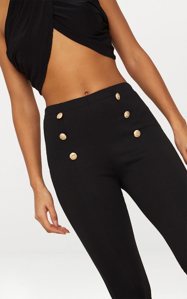Black Button Detail High Waisted Skinny Trouser 4