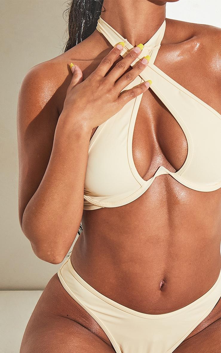 Cream Underwire Cross Front Bikini Top 4