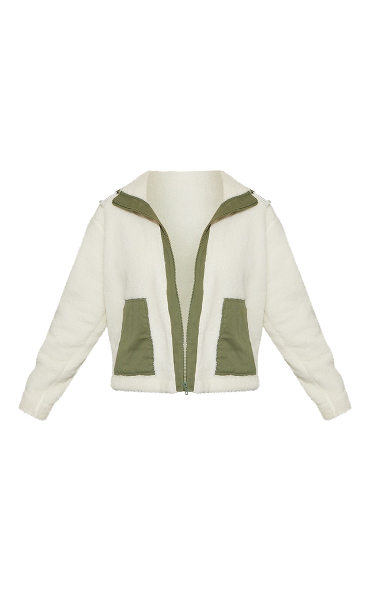 Cream Fleece Contrast Nylon Pocket Jacket 5