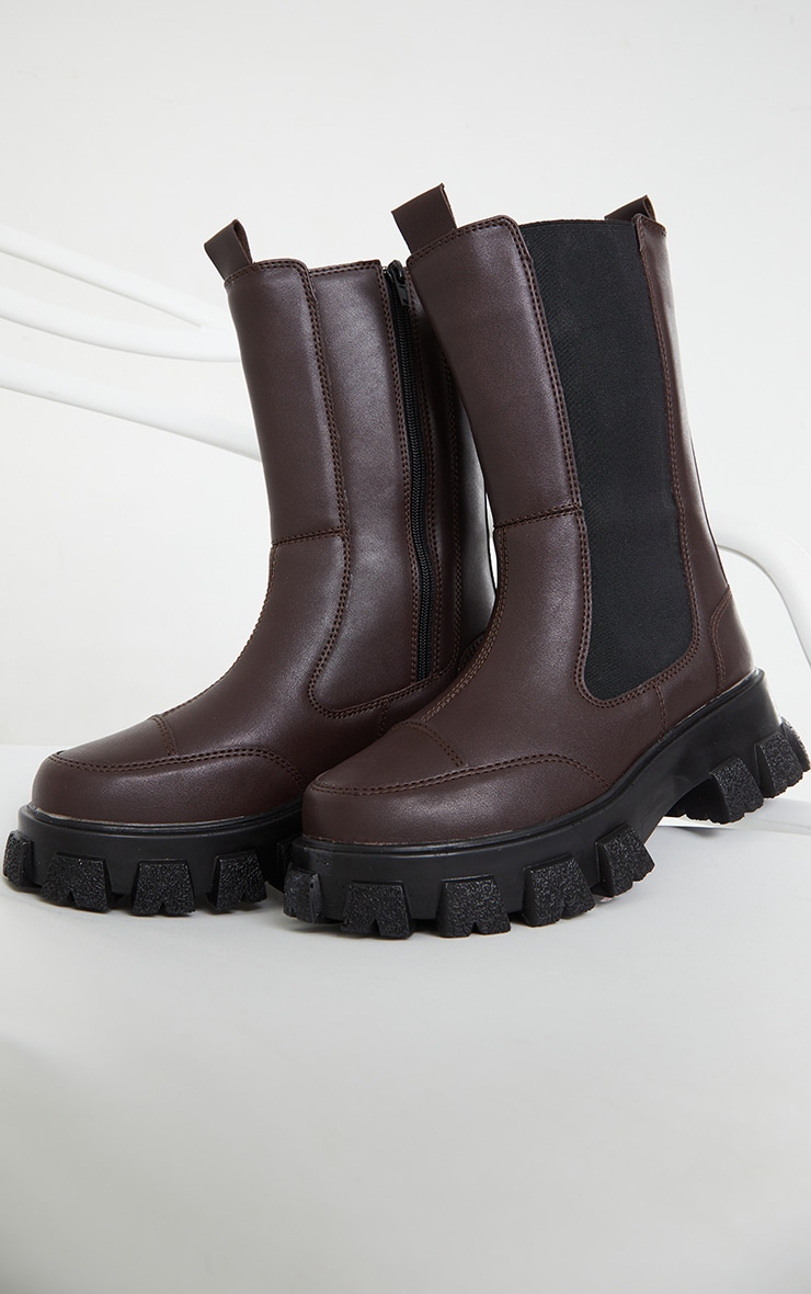 Chocolate Chunky Cleated Sole Calf High Chelsea Boots 4
