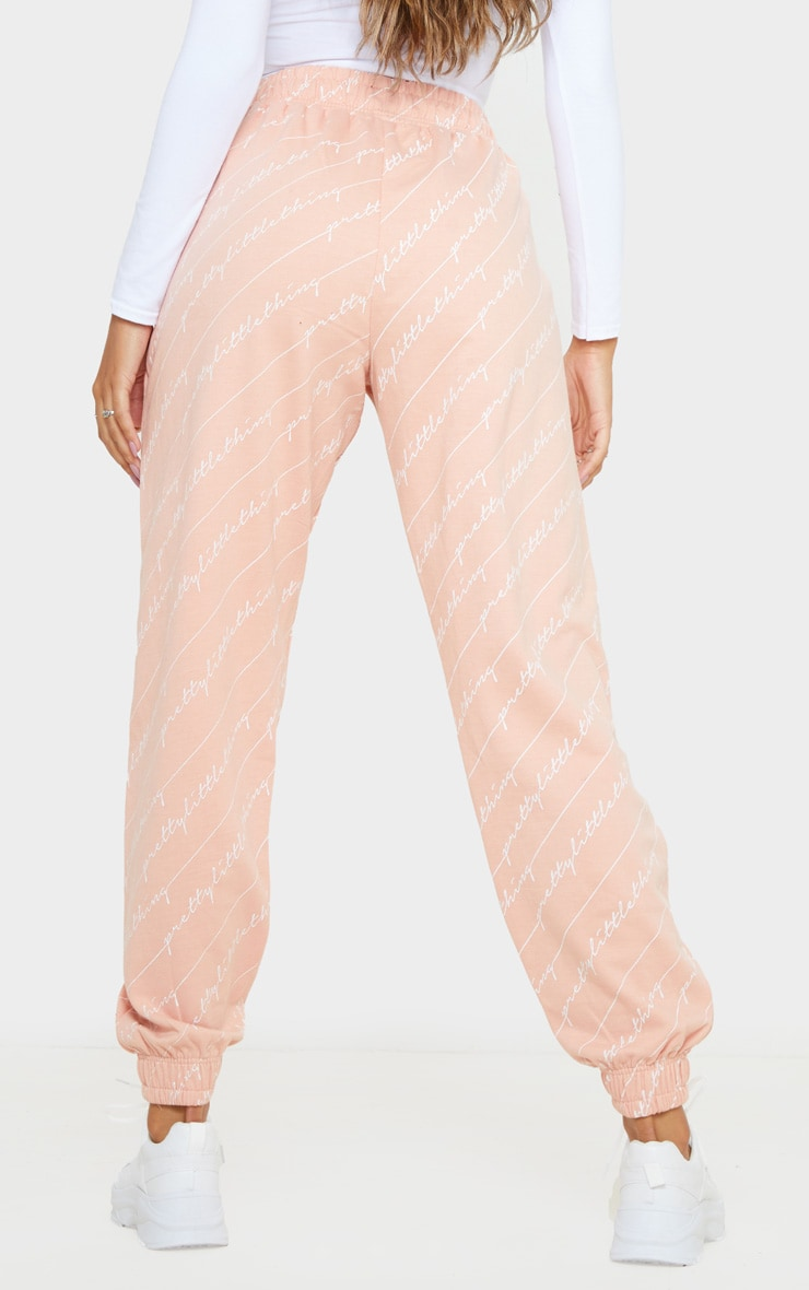 PRETTYLITTLETHING Pink Printed Jogger 4