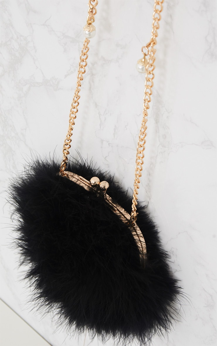 Black Feather Circle Clutch Bag 5