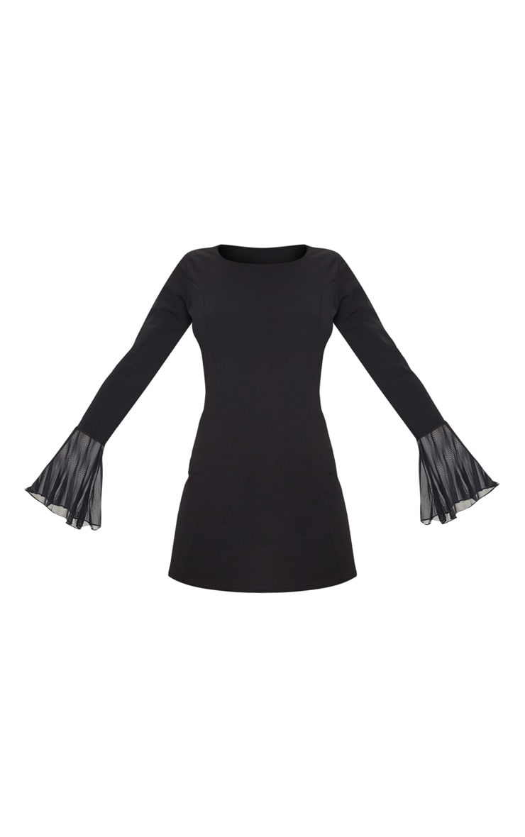 Black Frill Sleeve Detail Shift Dress 3