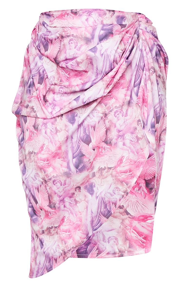 Plus Pink Rennaisance Print Ruched Side Midi Skirt 5