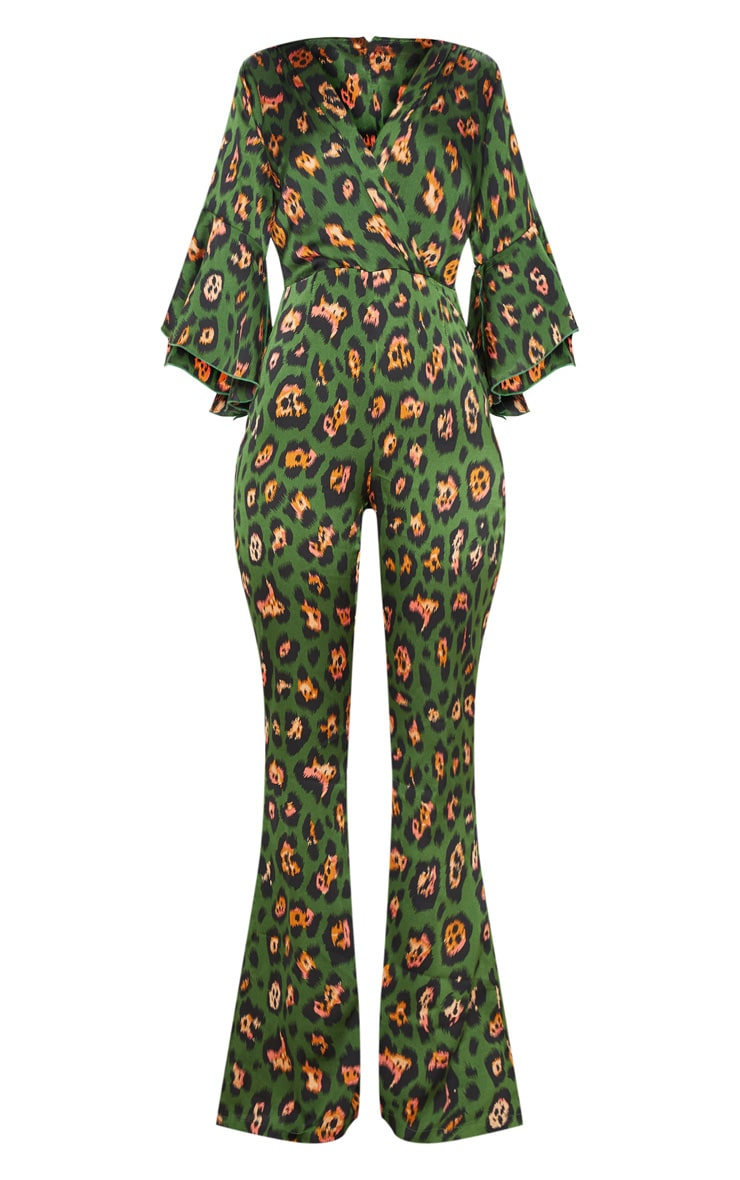 Green Leopard Print Flared Sleeve Jumpsuit 3