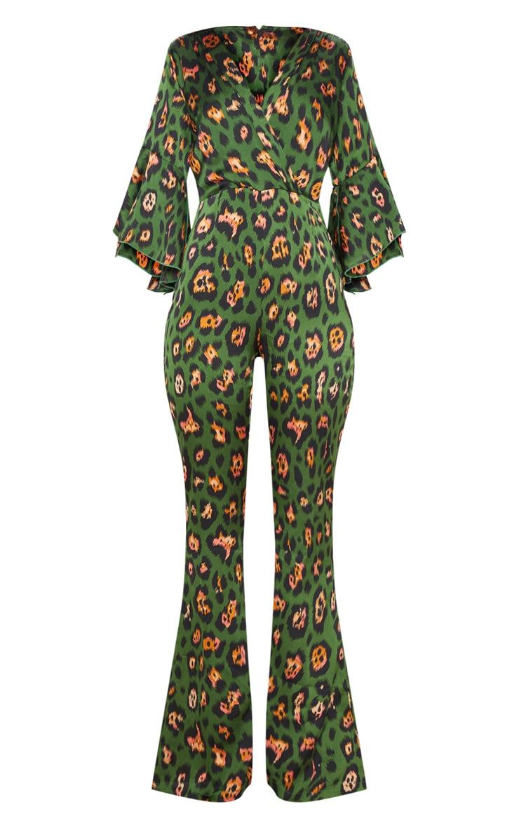 Green Leopard Print Flared Sleeve Jumpsuit 3