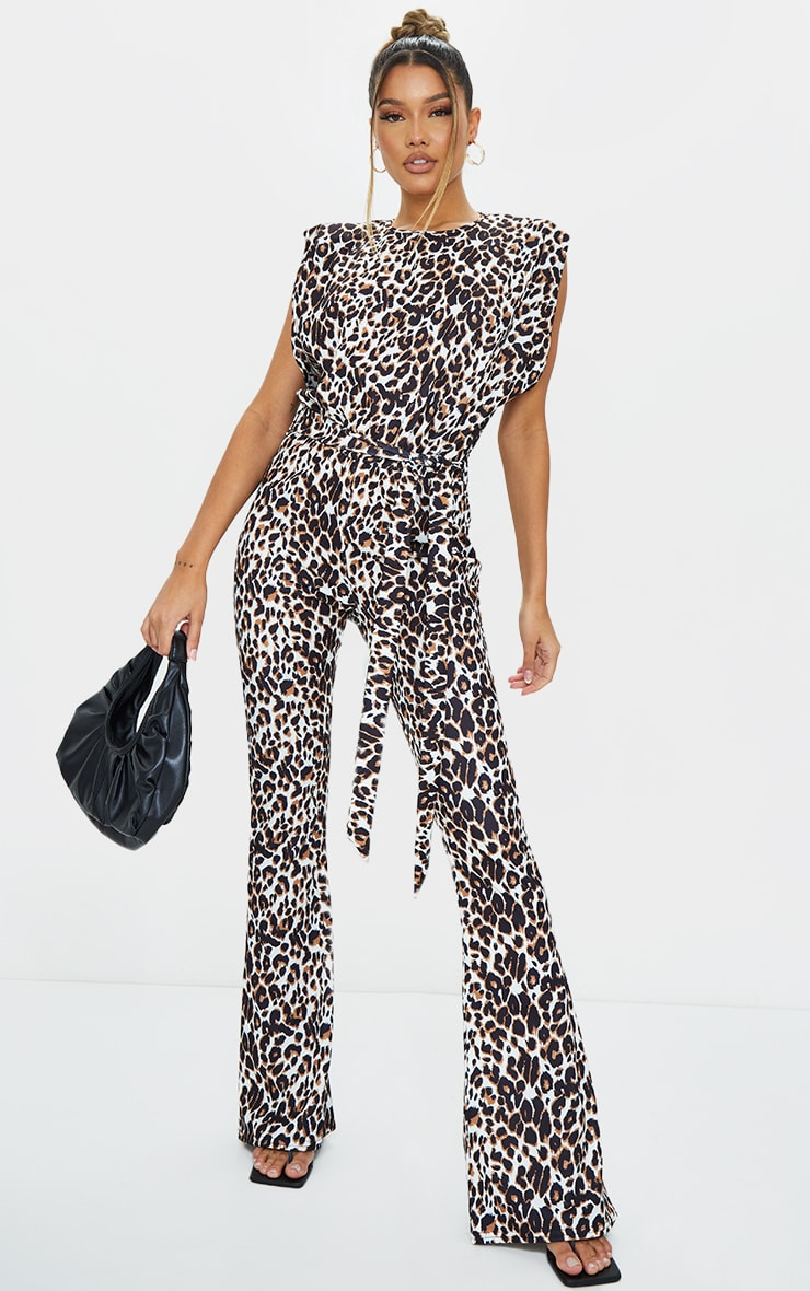 Tan Leopard High Neck Shoulder Pad Sleeveless Jumpsuit 1